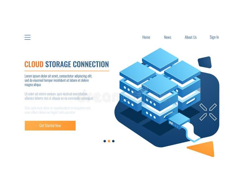 Έννοια τεχνολογίας Blockchain, πρόσβαση για τα στοιχεία κρυπτογράφησης, δωμάτιο κεντρικών υπολογιστών, φιλοξενία Ιστού και σύνδεσ απεικόνιση αποθεμάτων