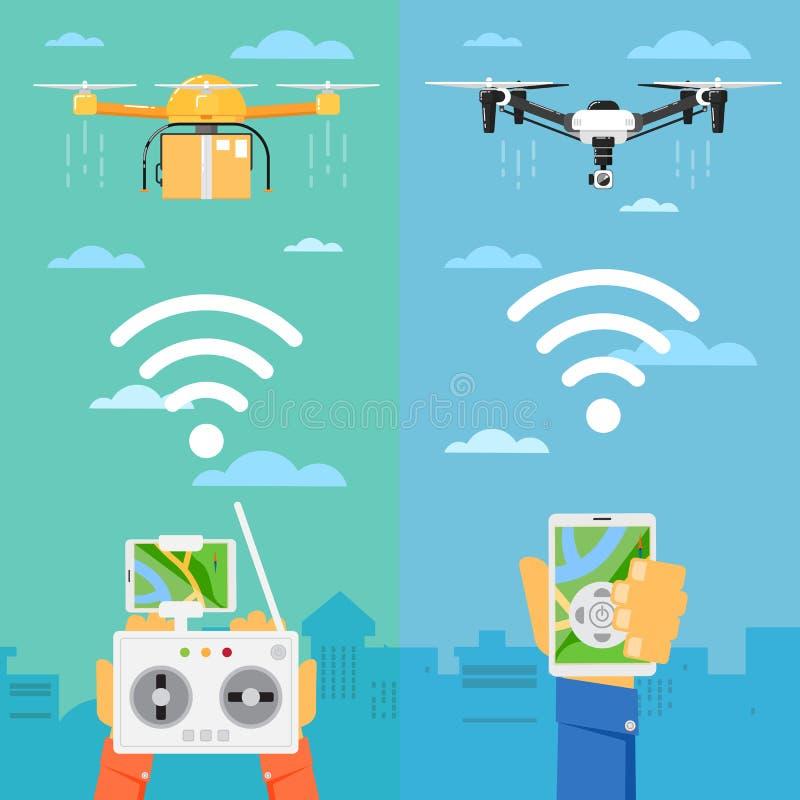 Έννοια τεχνολογίας κηφήνων με τα πετώντας ρομπότ απεικόνιση αποθεμάτων
