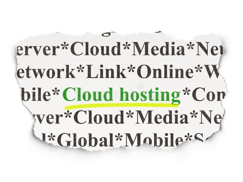 Έννοια τεχνολογίας: Φιλοξενία σύννεφων σε χαρτί ελεύθερη απεικόνιση δικαιώματος