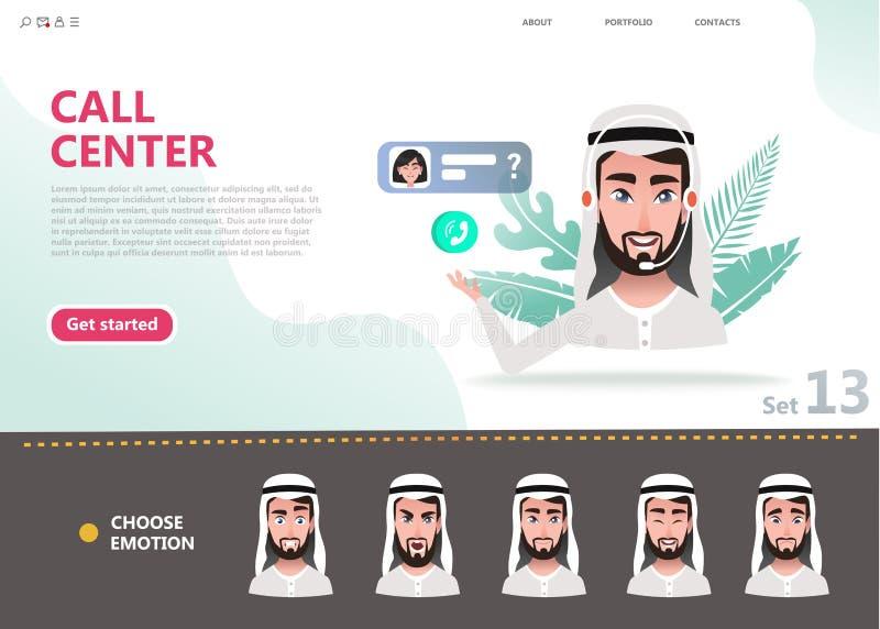 Έννοια τηλεφωνικών κέντρων Αραβικό άτομο χαρακτήρα κινουμένων σχεδίων διανυσματική απεικόνιση