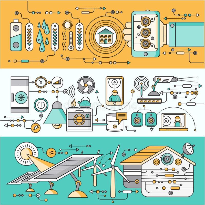 Έννοια της έξυπνης συσκευής σπιτιών και ελέγχου ελεύθερη απεικόνιση δικαιώματος