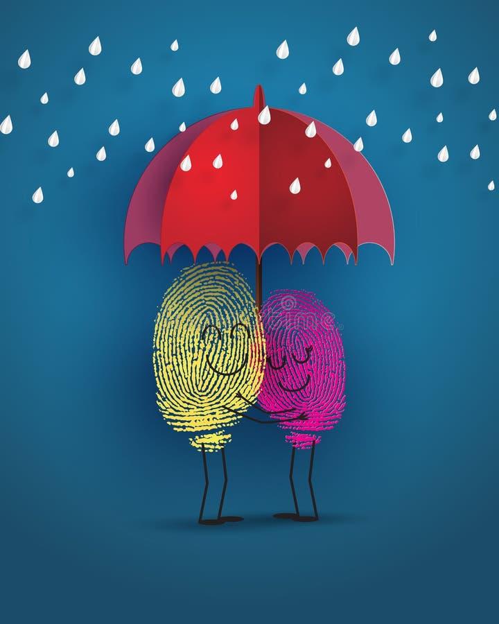 Έννοια της αγάπης με το δακτυλικό αποτύπωμα διανυσματική απεικόνιση