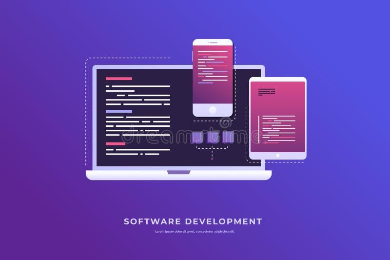 Έννοια της ανάπτυξης και του λογισμικού Ψηφιακή βιομηχανία διανυσματική απεικόνιση