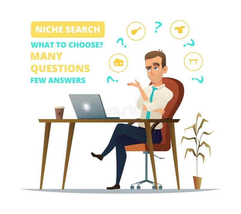 Έννοια της αναζήτησης θέσεων Λυπημένη συνεδρίαση επιχειρηματιών στον εργασιακό χώρο του Το νέο επιχειρησιακό άτομο σκέφτεται σκέψ ελεύθερη απεικόνιση δικαιώματος