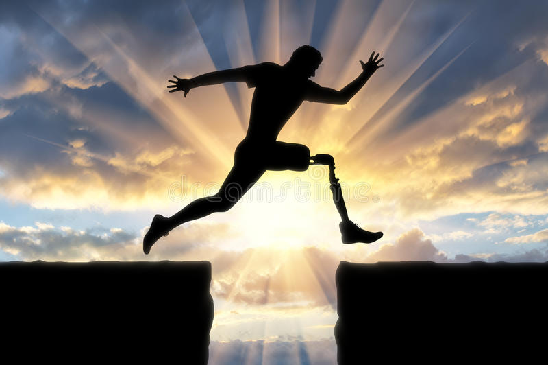 Έννοια της ανικανότητας, προσθετικό πόδι στοκ εικόνες