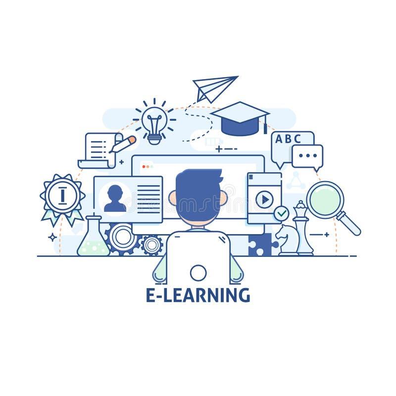 Έννοια της απεικόνισης - επικοινωνίες και τεχνολογία, σύγχρονη εκπαίδευση και εκμάθηση, έρευνα, σεμινάριο ελεύθερη απεικόνιση δικαιώματος