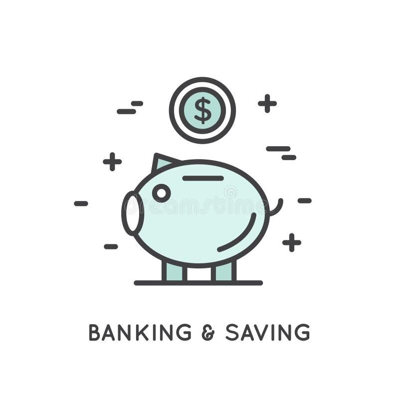 Έννοια της αποταμίευσης και των χρημάτων απεικόνιση αποθεμάτων