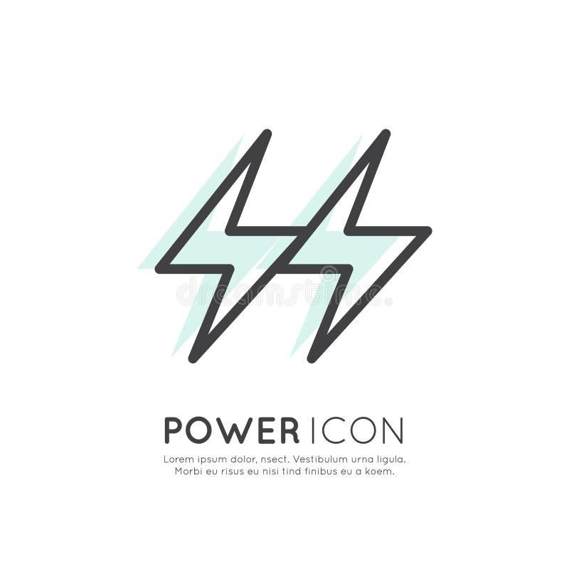 Έννοια της αστραπής δύναμης, της τράπεζας, της μπαταρίας, της πηγής ενέργειας, του Ιστού και του κινητού App εικονιδίου απεικόνιση αποθεμάτων