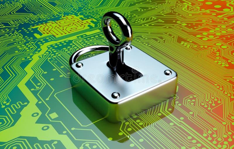 Έννοια της ασφάλειας υπολογιστών απεικόνιση αποθεμάτων