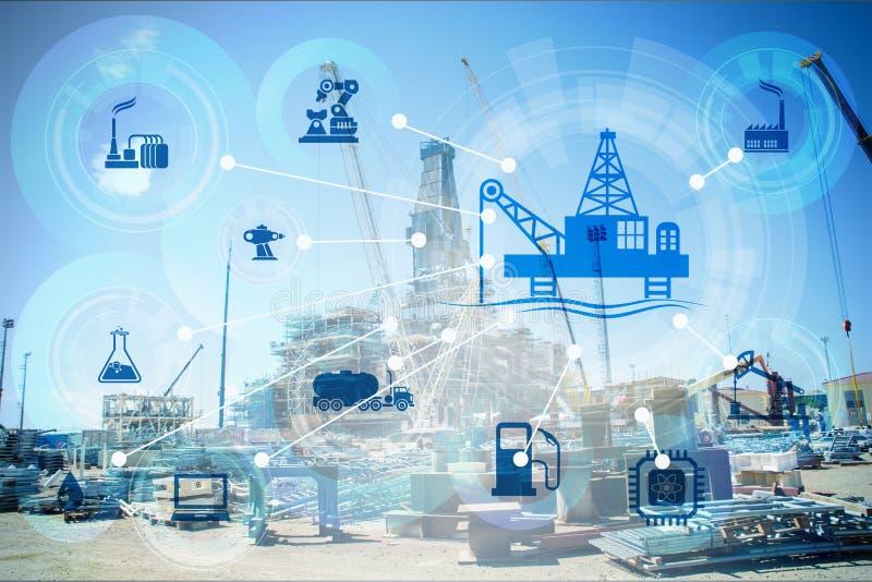 Έννοια της αυτοματοποίησης στο πετρέλαιο και τη βιομηχανία φυσικού αερίου στοκ φωτογραφία με δικαίωμα ελεύθερης χρήσης