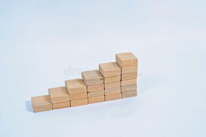 Έννοια της αύξησης της επιχείρησης, σωρός του ξύλινου φραγμού Επιχειρησιακή έννοια ακίνητων περιουσιών Ξύλινη συσσώρευση φραγμών στοκ εικόνα
