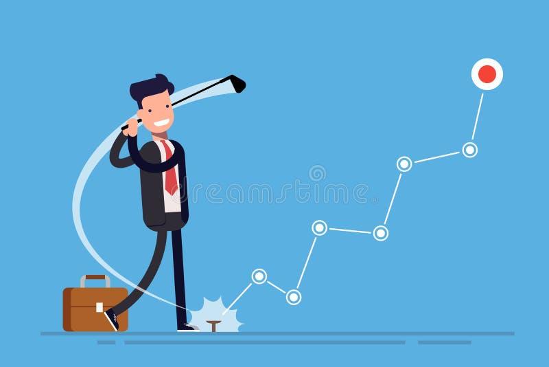 Έννοια της αύξησης κέρδους Γκολφ παιχνιδιών επιχειρηματιών ή διευθυντών Γραφική παράσταση ή διάγραμμα της οικονομικής αύξησης Διά απεικόνιση αποθεμάτων