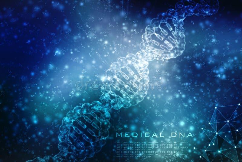 Έννοια της βιοχημείας με το μόριο DNA που απομονώνεται στο ΙΑΤΡΙΚΌ υπόβαθρο, τρισδιάστατη απόδοση στοκ φωτογραφίες