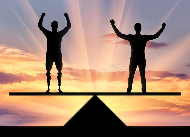 Έννοια της βοήθειας και η προσοχή των ατόμων με ειδικές ανάγκες στοκ εικόνα