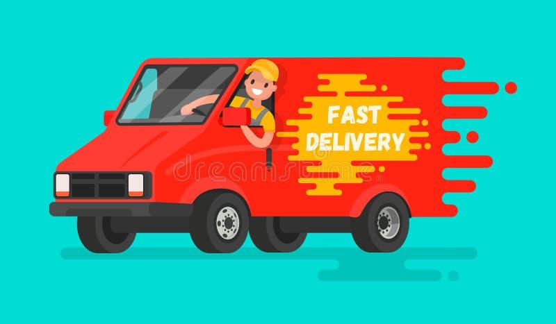 Έννοια της γρήγορης παράδοσης των αγαθών Ο οδηγός του φορτηγού στο α ελεύθερη απεικόνιση δικαιώματος