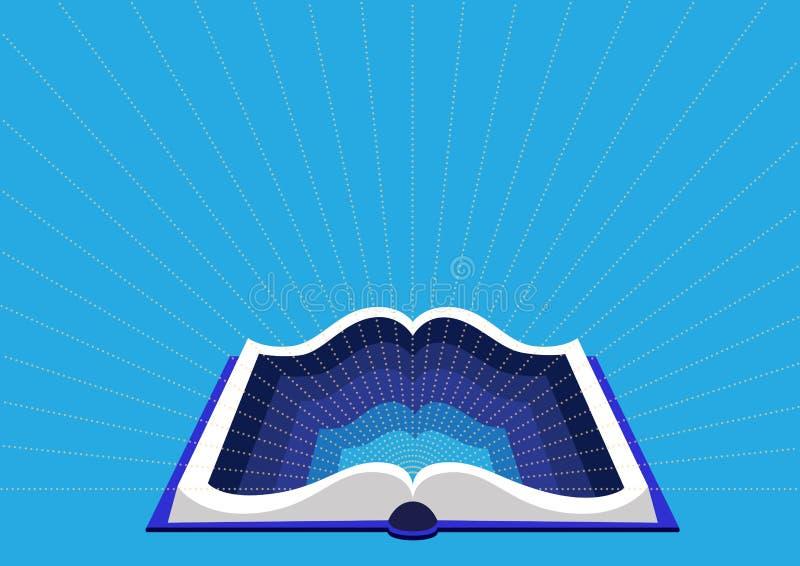 Έννοια της εκπαίδευσης και της κατάρτισης Ανοικτό βιβλίο σε ένα μπλε υπόβαθρο διανυσματική απεικόνιση