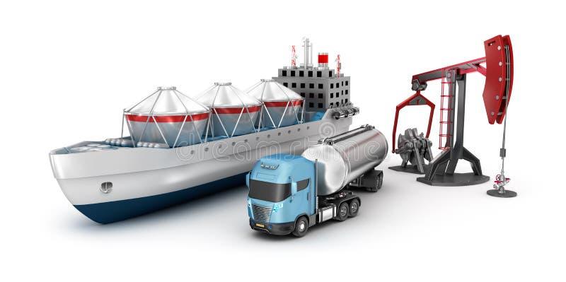 Έννοια της εξαγωγής και του καθαρισμού πετρελαίου διανυσματική απεικόνιση