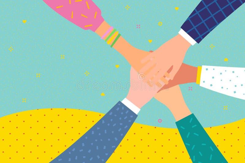 Έννοια της εργασίας ομάδων Φίλοι με το σωρό των χεριών που παρουσιάζουν την ενότητα και ομαδική εργασία απεικόνιση αποθεμάτων