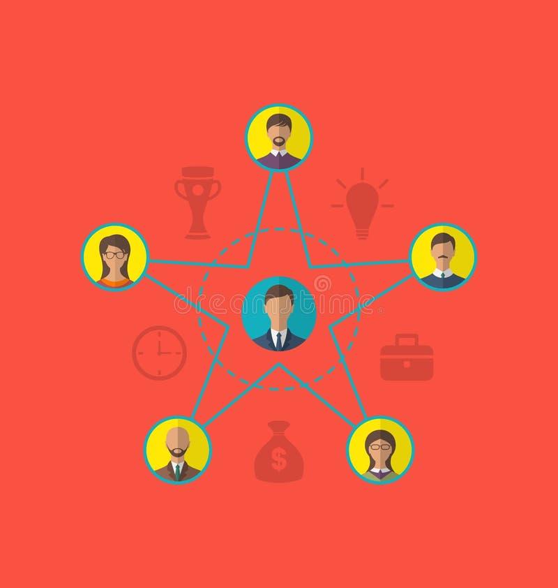 Έννοια της ηγεσίας, κοινοτικοί επιχειρηματίες Επίπεδο ico ύφους διανυσματική απεικόνιση