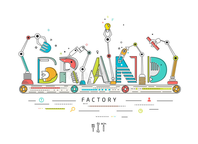 Έννοια της δημιουργίας και της οικοδόμησης του εμπορικού σήματος απεικόνιση αποθεμάτων