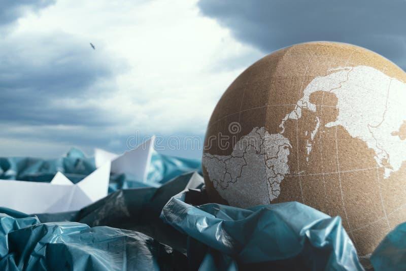 Έννοια της θαλάσσιας ρύπανσης με πλαστικό Χάρτινες βάρκες και υδρόγειος φελλού σε θύελλες από πλαστικές σακούλες Δημιουργική εκπρ στοκ εικόνα με δικαίωμα ελεύθερης χρήσης