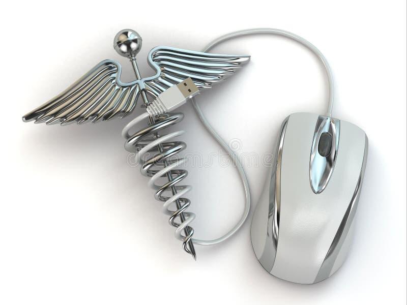 Έννοια της ιατρικής on-line. Σημάδι και ποντίκι κηρυκείων. διανυσματική απεικόνιση