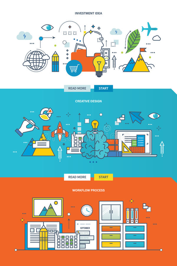 Έννοια της διαδικασίας ροής της δουλειάς, του δημιουργικών σχεδίου και της ιδέας επένδυσης διανυσματική απεικόνιση