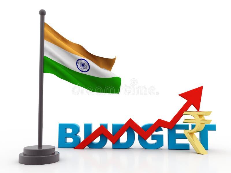 Έννοια της Ινδίας προϋπολογισμών που απομονώνεται στο άσπρο υπόβαθρο, ινδικός προϋπολογισμός τρισδιάστατος δώστε απεικόνιση αποθεμάτων