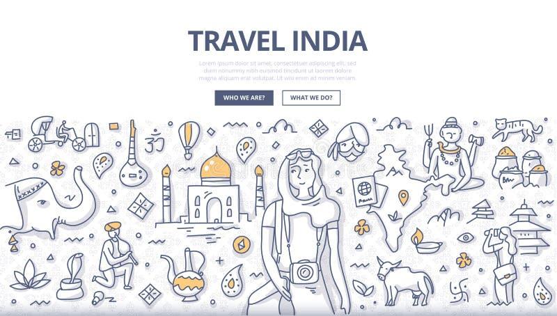 Έννοια της Ινδίας Doodle ταξιδιού διανυσματική απεικόνιση