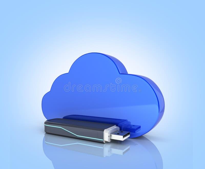 Έννοια της κίνησης λάμψης αποθήκευσης USB σύννεφων με το σύννεφο που απομονώνεται στο μπλε υπόβαθρο κλίσης τρισδιάστατο απεικόνιση αποθεμάτων