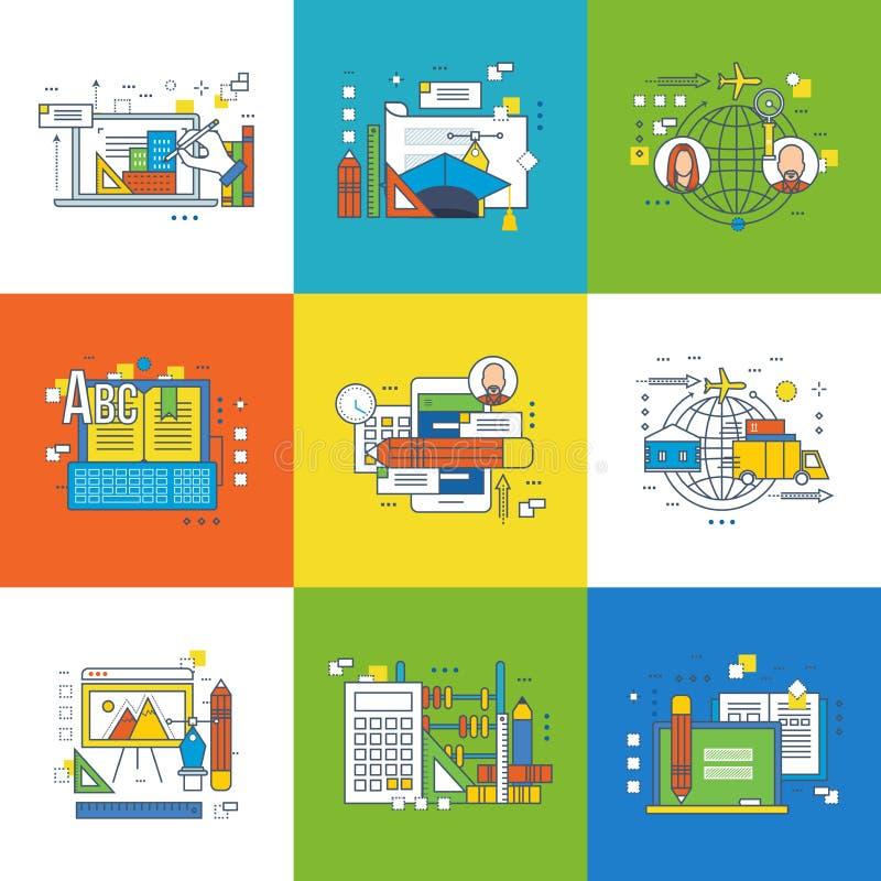 Έννοια της καινοτομίας, του γραφικού σχεδίου, της επιτυχίας στην εκμάθηση και της εργασίας διανυσματική απεικόνιση