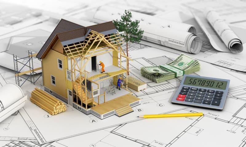 Έννοια της κατασκευής και του σχεδίου αρχιτεκτόνων διανυσματική απεικόνιση