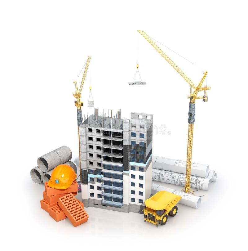 Έννοια της κατασκευής Πολυκατοικία με τη μονωμένη πρόσοψη σχέδια με ένα σχέδιο και οικοδομικά υλικά κοντά στο κτήριο απεικόνιση αποθεμάτων