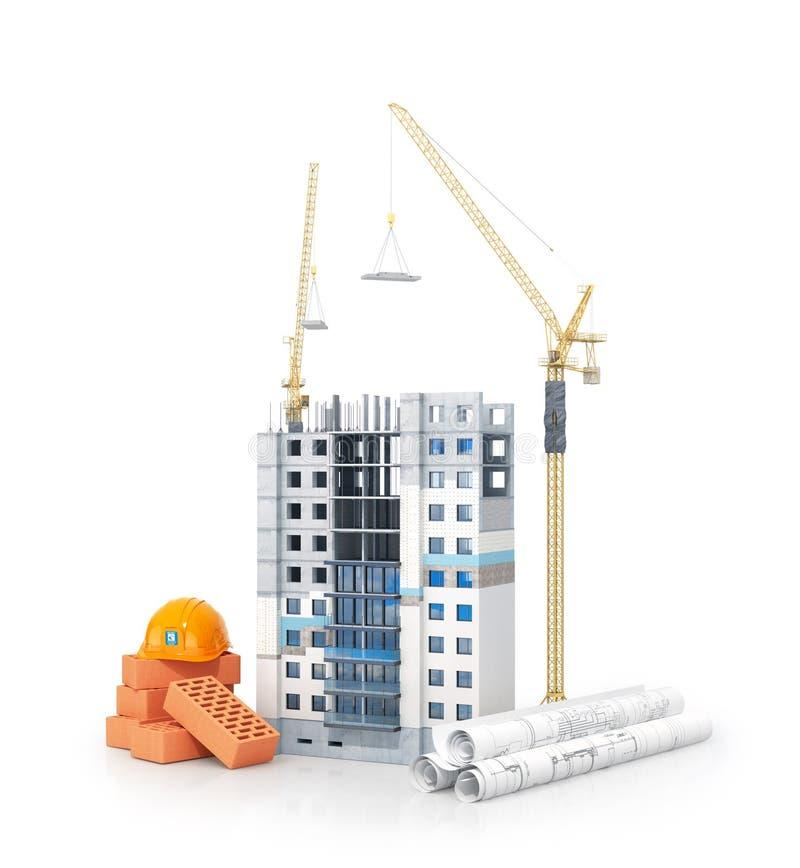 Έννοια της κατασκευής Πολυκατοικία με τη μονωμένη πρόσοψη σχέδια με ένα σχέδιο και οικοδομικά υλικά κοντά στο κτήριο ελεύθερη απεικόνιση δικαιώματος
