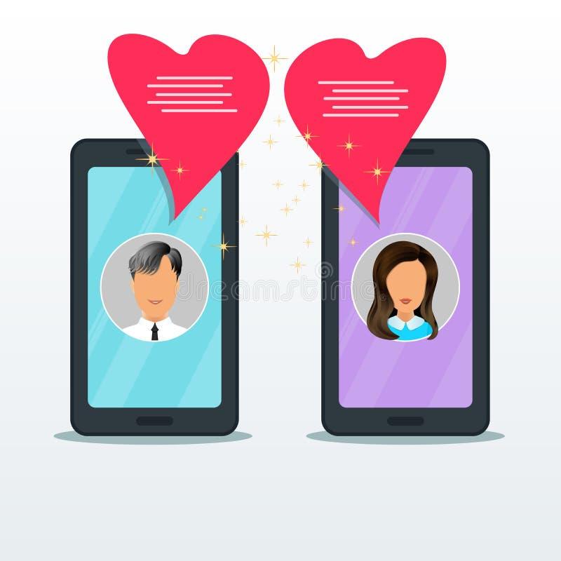 Έννοια της κινητής σε απευθείας σύνδεση συνομιλίας χρονολόγησης ή αγάπης Δύο επίπεδα smartphones με τα εικονίδια ανδρών και γυναι απεικόνιση αποθεμάτων