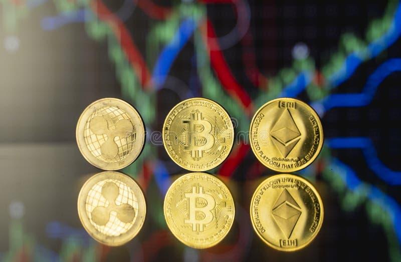 Έννοια της κρυπτογράφησης και του εικονικού χρήματος Χρυσόχρωμα κέρματα, κέρματα αιθέρα και κυματοειδή με διάγραμμα ανάπτυξης και στοκ εικόνες με δικαίωμα ελεύθερης χρήσης