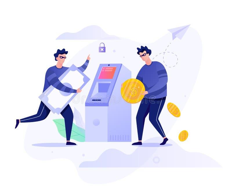 Έννοια της ληστείας ATM Εγκληματικός χαρακτήρας που κλέβει χρήματα διανυσματική απεικόνιση