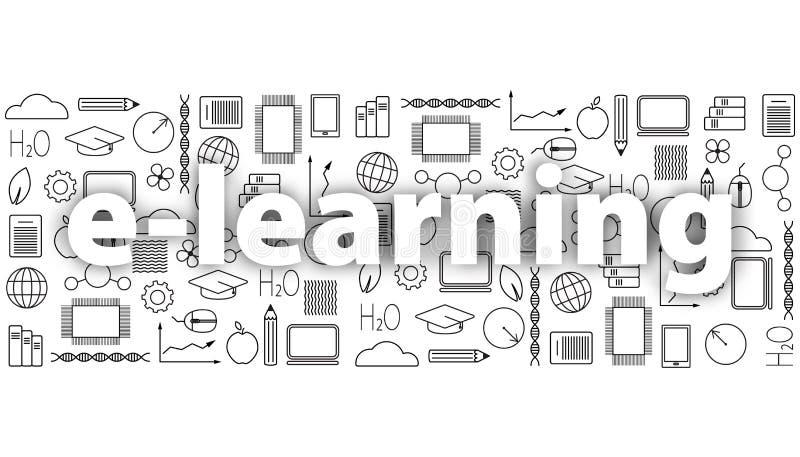 Έννοια της μακρινής εκμάθησης Σύνολο λεπτών εικονιδίων γραμμών εκπαίδευσης στο Μαύρο Ε-μαθαίνοντας σχολική πανεπιστημιακή απεικόν διανυσματική απεικόνιση