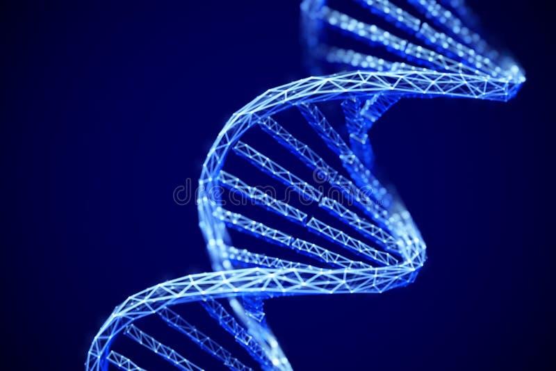 Έννοια της μελλοντικής γενετικής τεχνολογίας: τρισδιάστατο ψηφιακό μόριο ελίκων DNA διπλό ελεύθερη απεικόνιση δικαιώματος