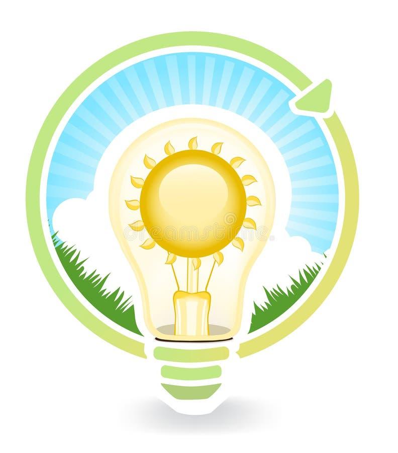 Έννοια της πράσινης ενέργειας αποταμίευσης για τις λάμπες φωτός , απεικονίσεις απεικόνιση αποθεμάτων