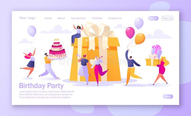 Έννοια της προσγειωμένος σελίδας με το θέμα εορτασμού γενεθλίων για την κινητά ανάπτυξη ιστοχώρου και το σχέδιο ιστοσελίδας απεικόνιση αποθεμάτων
