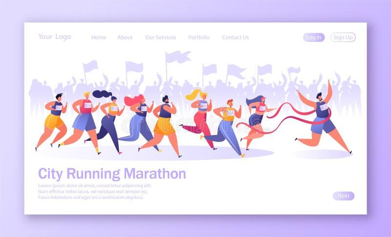 Έννοια της προσγειωμένος σελίδας στο υγιές θέμα τρόπου ζωής Ενεργός αθλητισμός ανθρώπων διανυσματική απεικόνιση