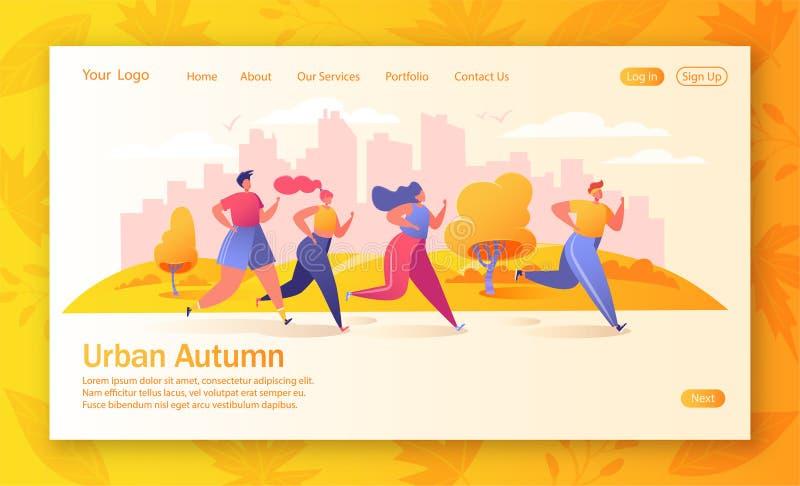 Έννοια της προσγειωμένος σελίδας στο υγιές θέμα τρόπου ζωής Φθινόπωρο στην πόλη ελεύθερη απεικόνιση δικαιώματος
