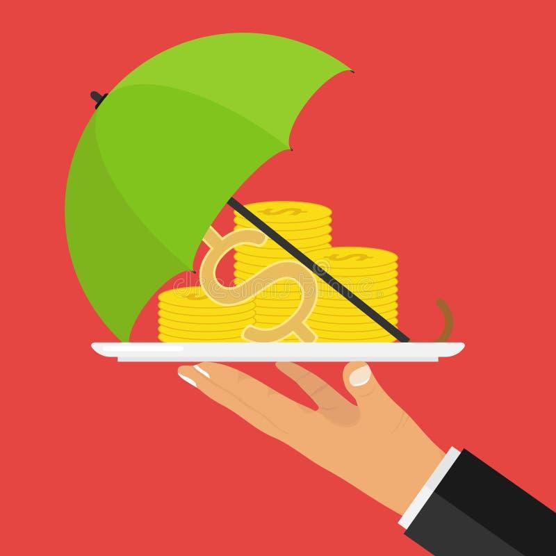 Έννοια της προστασίας χρημάτων Το χέρι κρατά έναν δίσκο με τα χρήματα που καλύπτονται με μια ομπρέλα διανυσματική απεικόνιση