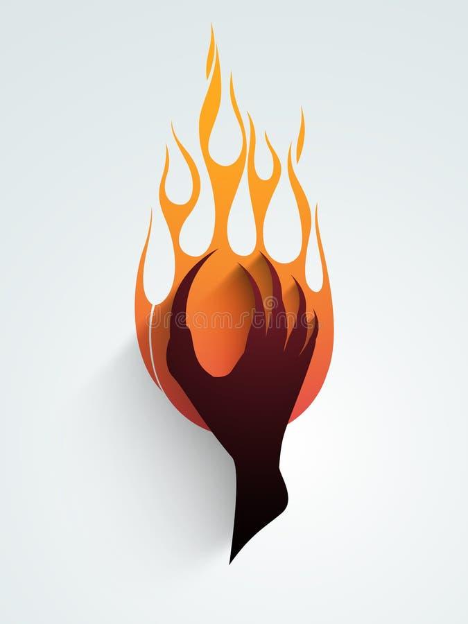 Έννοια της πυρκαγιάς με το χέρι zombie διανυσματική απεικόνιση