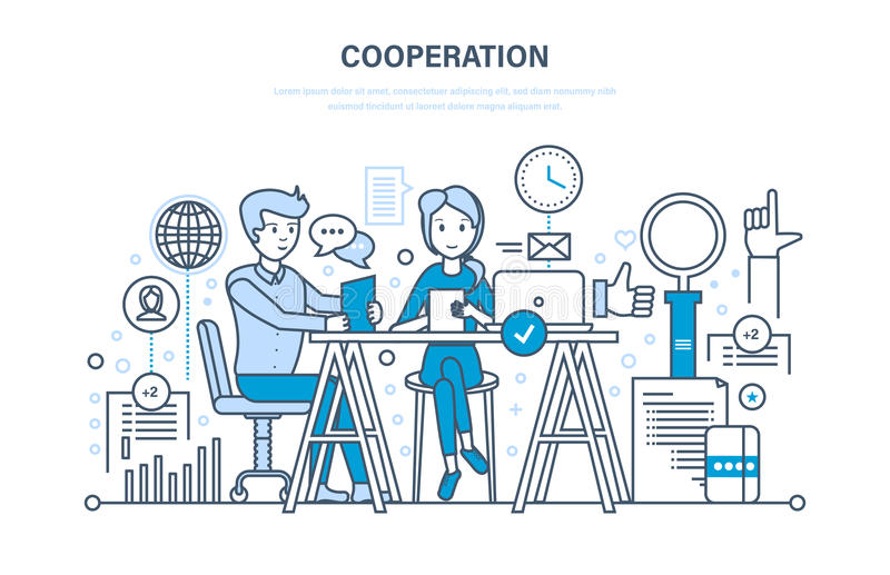 Έννοια της συνεργασίας, συνεργασία, συνεργασίες, ομαδική εργασία, πωλήσεις, μάρκετινγκ, συζήτηση απεικόνιση αποθεμάτων