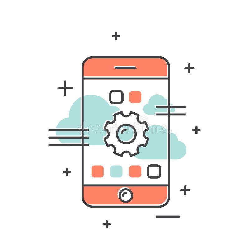 Έννοια της σφαιρικής σύνδεσης, δίκτυο, World Wide Web, φιλοξενία σύννεφων, ασύρματη σύνδεση, αναπροσαρμογή, νέο σύστημα λειτουργί διανυσματική απεικόνιση