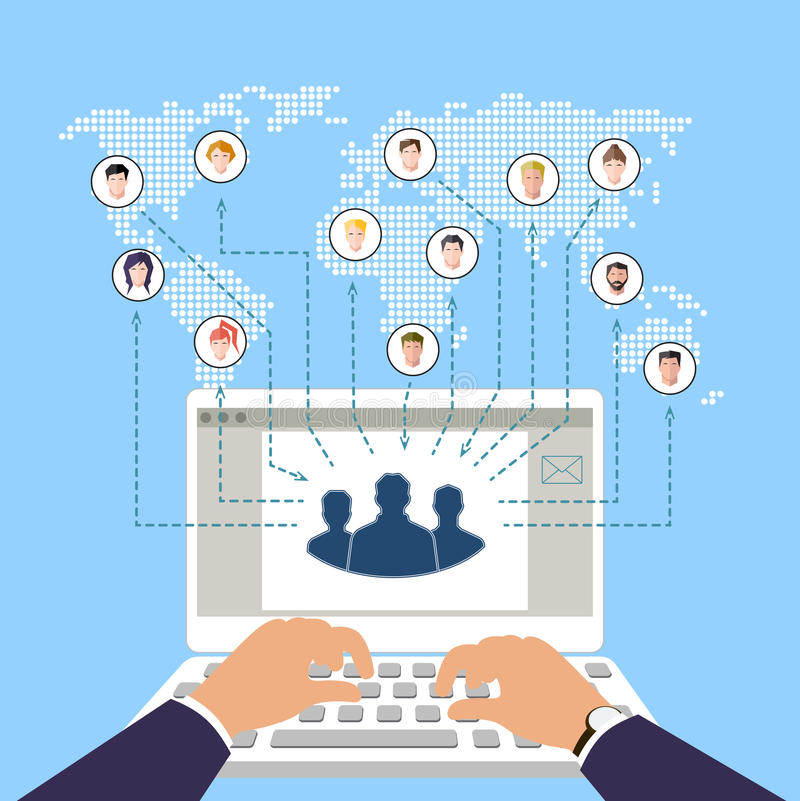 Έννοια της σύγχρονων επιχείρησης και της ομαδικής εργασίας Κοινωνικά δίκτυα Σε απευθείας σύνδεση εμπόριο απεικόνιση αποθεμάτων
