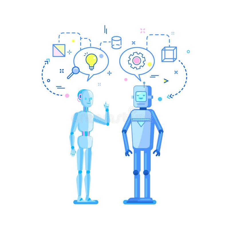 Έννοια της τεχνητής νοημοσύνης Συζήτηση, συζήτηση και ανταλλαγή δύο ρομπότ των ιδεών διανυσματική απεικόνιση