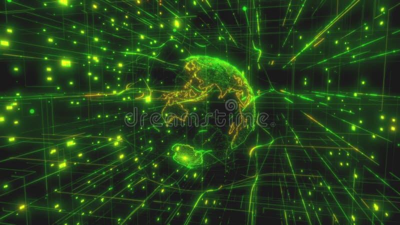 Έννοια της τεχνολογίας υπολογιστών Διαδικτύου την κίνηση AI των πραγμάτων IOT και της μεγάλης ανταλλαγής στοιχείων που χρησιμοποι διανυσματική απεικόνιση